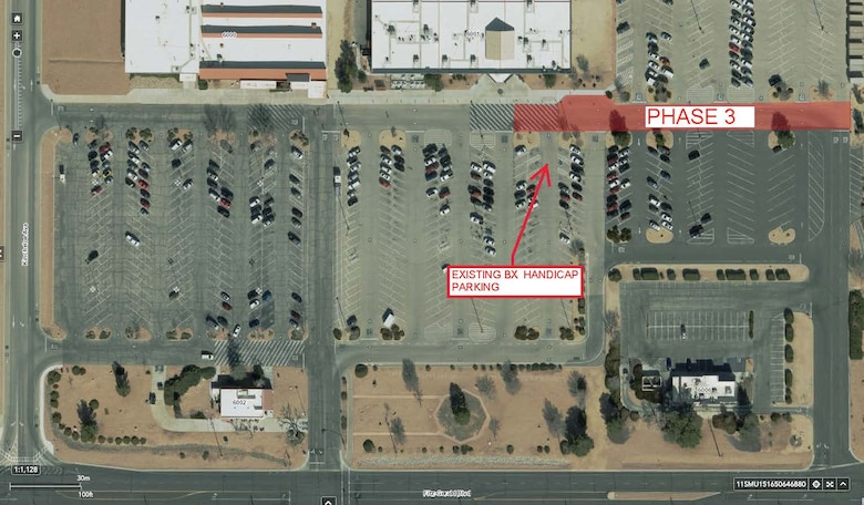 Overview of Phase 3 of the commissary and base exchange parking lot repair project. (Graphic courtesy of 412th Civil Engineer Group)