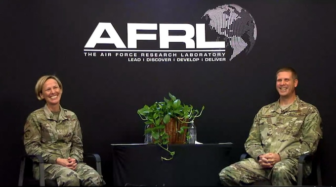 Brig. Gen. Heather Pringle, AFRL Commander, and Chief Master Sgt. Kennon Arnold, AFRL Command Chief, addressed questions during an AFRL virtual town hall event streamed live on AFRL's Facebook page Aug. 21. During the event, Pringle announced her top three priorities as commander: to accelerate the AF S&T Strategy, to support the U.S. Space Force as one AFRL and to lead the best AFRL Team. (Courtesy photo)