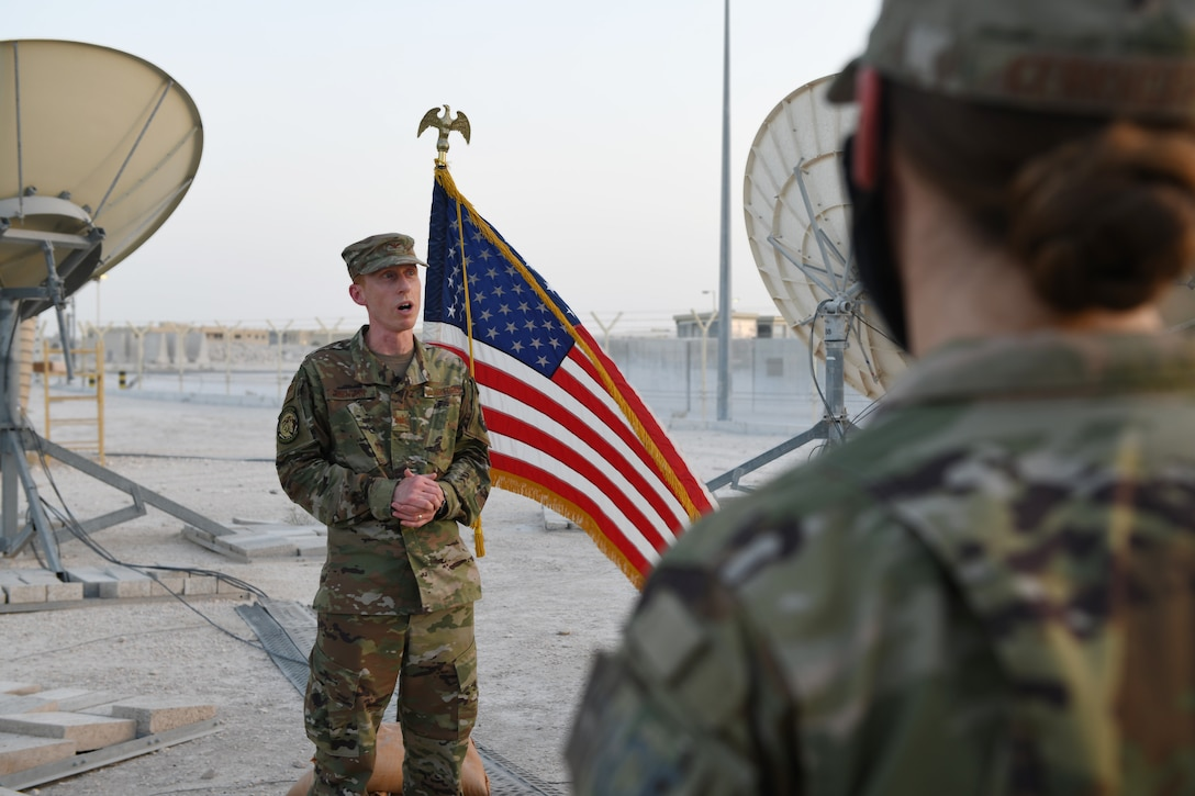 Col. Todd Benson, the U.S. Air Forces Central Command director of space forces, addresses members of the 379th Operations Support Squadron before they swore in as members of the Space Force at Al Udeid Air Base, Qatar, on Sept. 1, 2020. The Space Force is the United States' newest service in more than 70 years. (U.S. Air Force photo by Staff Sgt. Kayla White)