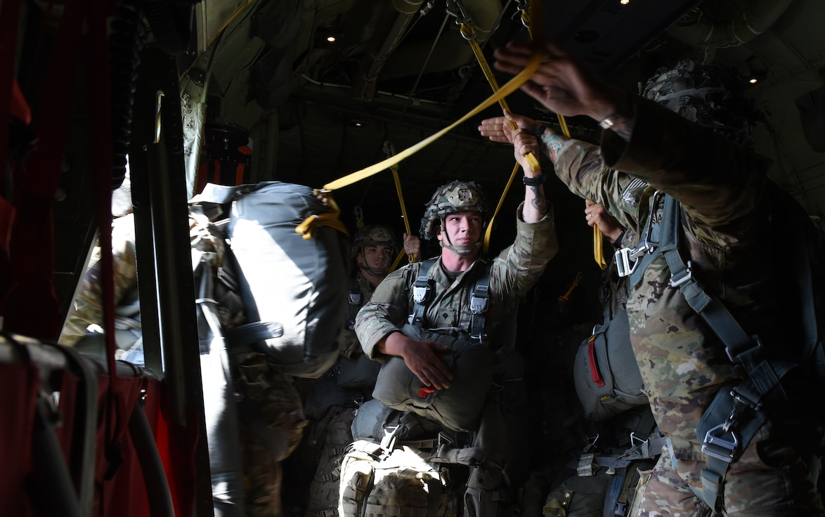 U.S. Army Soldiers assigned to the 173rd Airborne Brigade jump from a C-130J Super Hercules aircraft during a Joint Forcible Entry exercise at the Vaziani Training Area, Georgia, Sept. 1, 2020.