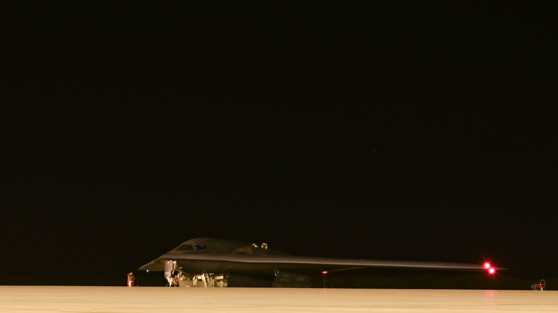 A B-2 Spirit Stealth Bomber, from Whiteman Air Force Base, Missouri, prepares to take off in support of a Bomber Task Force mission, at Naval Support Facility Diego Garcia, Aug. 23, 2020.  As part of their BTF deployment, the B-2s participated in a combined United States-Australia exercise with Marine Rotational Force – Darwin and Australian Defence Forces. (U.S. Air Force photo by Tech. Sgt. Heather Salazar)