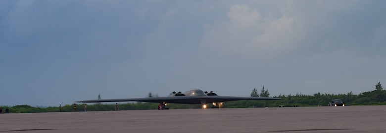 U.S. Air Force maintainers assigned to the 393rd Expeditionary Bomb Squadron, Whiteman Air Force Base, Missouri, taxi in the B-2 Spirit Stealth Bomber at Naval Support Facility Diego Garcia, to support a Bomber Task Force mission, Aug. 14, 2020.  As part of their BTF deployment, the B-2s participated in a combined United States-Australia exercise with Marine Rotational Force -Darwin and Australian Defence Forces. During the exercise, MRF-D and ADF Joint Terminal Attack Controllers coordinated airstrikes with U.S. Air Force B-1B Lancers and B-2 Spirit Stealth Bombers. (U.S. Air Force photo by Senior Airman Alexandria Lee)