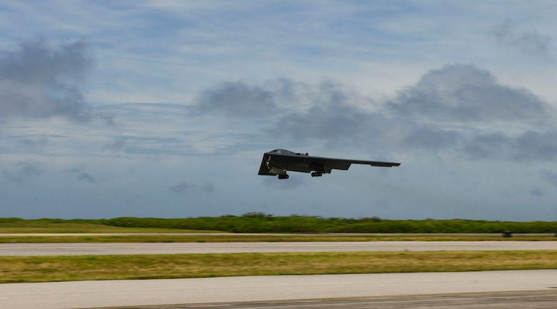 A B-2 Spirit Stealth Bomber, deployed from Whiteman Air Force Base, Missouri, takes off at Naval Support Facility Diego Garcia, in support a Bomber Task Force mission, August 26, 2020. BTF missions allow U.S. Strategic Command to provide persistent, long-term bomber presence to aid in U.S. Indo-Pacific Command's commitment to a free and open Indo-Pacific. As part of their BTF deployment, the B-2s participated in a combined United States-Australia exercise with Marine Rotational Force-Darwin and Australian Defence Forces. During the exercise, MRF-D and ADF Joint Terminal Attack Controllers coordinated airstrikes with U.S. Air Force B-1B Lancers and B-2 Spirit Stealth Bombers. (U.S Air Force photo by Tech. Sgt. Heather Salazar)