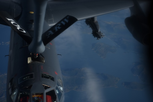 A B-52 Stratofortress from the 5th Bomb Wing, Minot Air Force Base, North Dakota receives fuel from a KC-135 from the 100th Air Refueling Wing, RAF Mildenhall, England a KC-135 around the coast of Norway during a during a strategic bomber mission on Sept. 2, 2020.