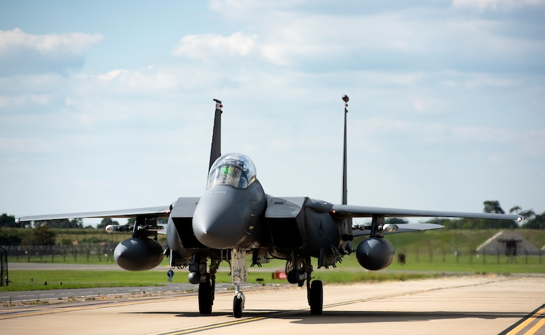 A U.S. Air Force F-15E Strike Eagle, assigned to the 494th Fighter Squadron, taxis down the flightline after a training sortie at Royal Air Force Lakenheath, England, Sept. 1, 2020. The 48th Fighter Wing conducts routine training in order to maintain combat readiness and safeguard U.S. national interests and the collective defense of allies and partners. (U.S. Air Force phtot by Airman 1st Class Jessi Monte)