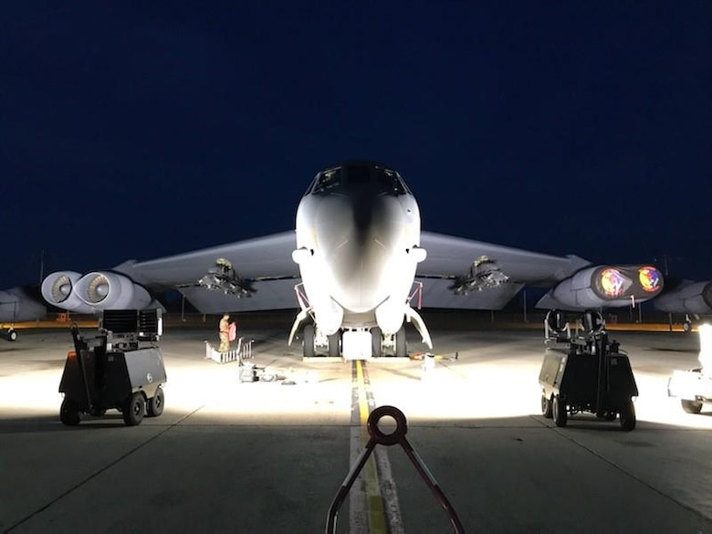 Side by side comparison of the two Light Emitting Diode fixture options. Per Master Sgt. Petersen both LED options were improvements over the legacy metal-halide fixtures. (U.S. Air Force photo/Master Sgt. Matthew Petersen)