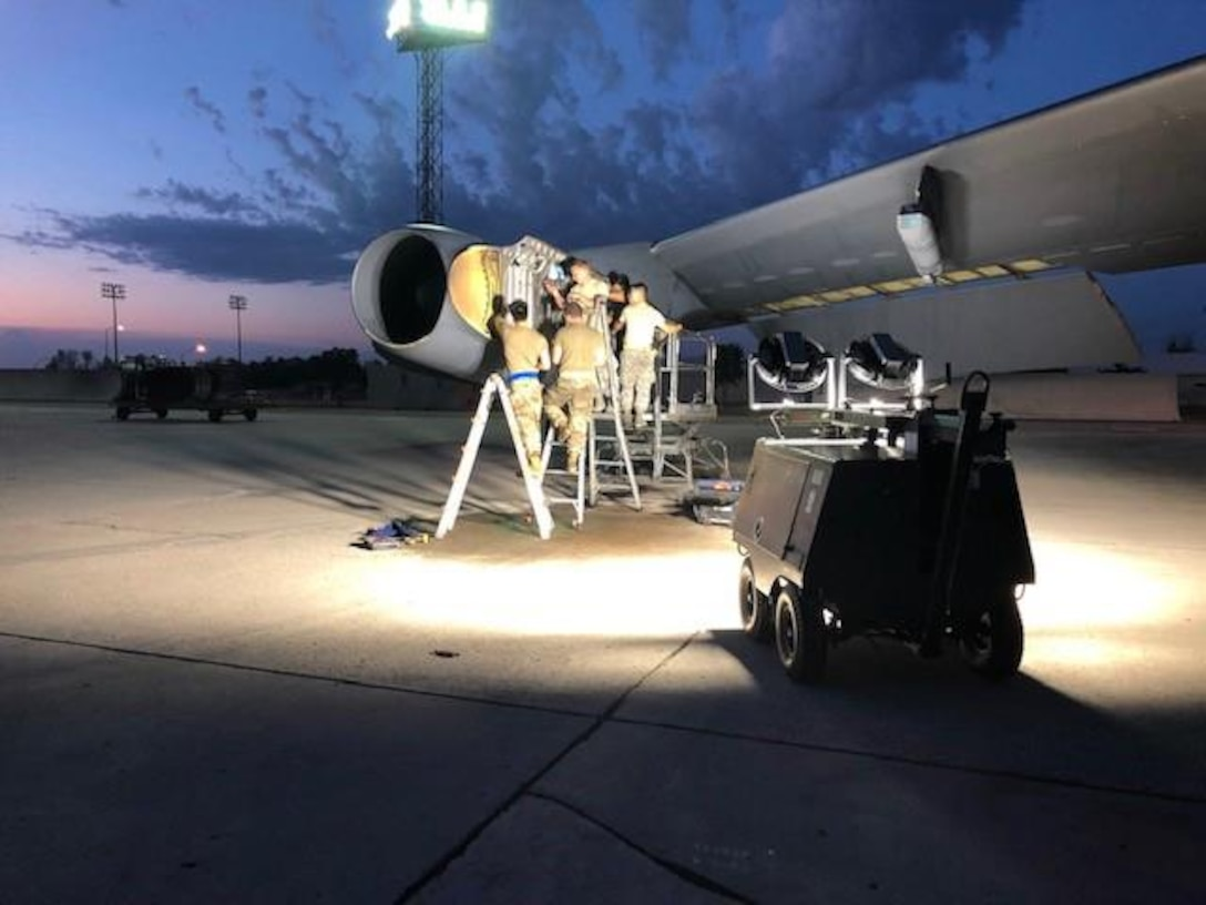 """""""Improved LED lighting makes B-52 maintenance safer, more efficient and more effective,"""" said Master Sgt. Matthew Petersen, B-52 Production Superintendent. (U.S. Air Force photo/Master Sgt. Matthew Peterson)"""