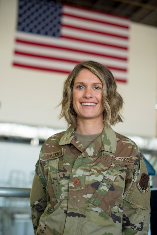 U.S. Air Force Major Shelley Brackman, 121st Medical Group, stands for a portrait August 24, 2020, at Rickenbacker Air National Guard Base, Ohio. Brackman has led an Ohio National Guard medical relief mission this year in response to COVID-19.  (U.S. Air National Guard photo by Ralph Branson)