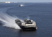 The Navy's newest Landing Craft Air Cushion (LCAC) hovercraft arrived at Naval Surface Warfare Center Panama City Division Sept. 2.