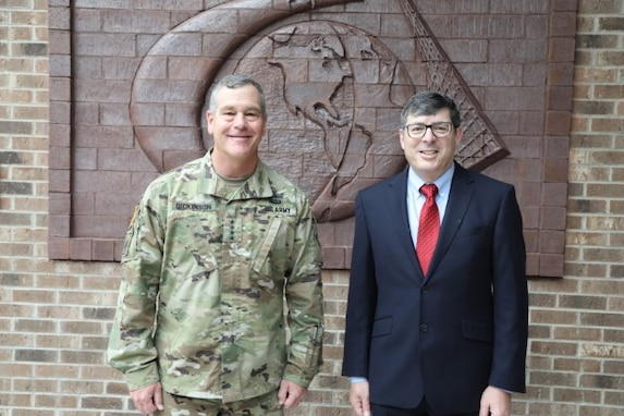Commander USSPACECOM GEN James Dickinson and Director NRO Chris Scolese discuss opportunities for collaboration at NRO on September 2, 2020.
