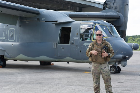 JACKSONVILLE AIR NATIONAL GUARD BASE, Fla. -- U.S. Air Force Lt. Col. Luke Sustman, a CV-22 pilot, is pictured before a CV-22 Osprey aircraft at the Jacksonville Air National Guard Base, Fla. on Aug. 13, 2020. Sustman achieves a first in the Florida Air National Guard by reaching 3,000 flight hours in the CV-22 Osprey aircraft. (U.S. Air National Guard by Airman 1st Class Jacob Hancock)