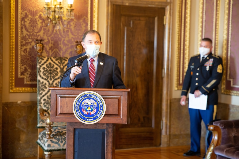For his brave and heroic actions, Gov. Gary R. Herbert presented the Utah Medal of Valor to Sgt. Chasen Brown, Sept. 1, 2020, for his disregard to his own personal safety, on that tragic day, also known as one of the deadliest mass shootings in the United States.