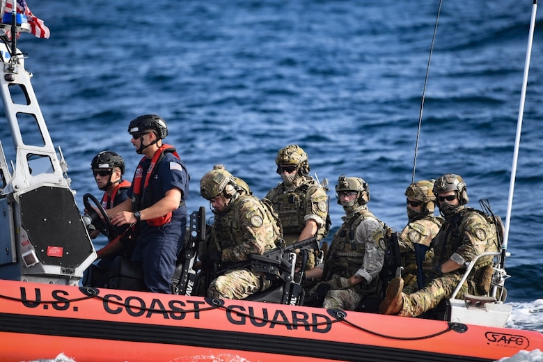 U.S. Coast Guardsmen from the Maritime Security Response Team East patrol in support of Advanced Battle Management System Onramp 2 in the Gulf of Mexico, Sept. 1, 2020. ABMS is an interconnected battle network - the digital architecture or foundation - which collects, processes and shares data relevant to warfighters in order to make better decisions faster. In order to achieve all-domain superiority, it requires that individual military activities not simply be de-conflicted, but rather integrated – activities in one domain must enhance the effectiveness of those in another domain. (U.S. Air Force photo by Staff Sgt. Haley Phillips)