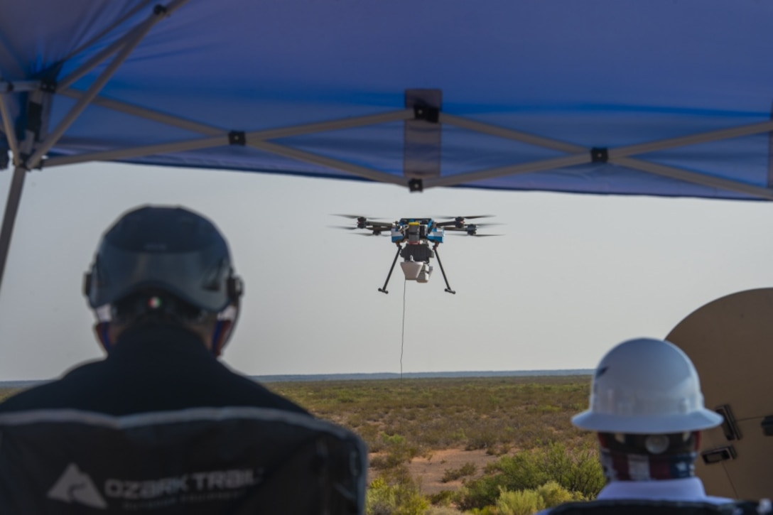 An AT&T drone takes flight to provide 5G connectivity to defense contractors participating in the Advanced Battle Management Systems Onramp 2 at White Sands Missile Range, N.M., Aug. 27, 2020. Achieving all-domain superiority  requires that individual military activities not simply be de-conflicted, but rather integrated – activities in one domain must enhance the effectiveness of those in another domain. (U.S. Air Force photo by Senior Airman Daniel Garcia)