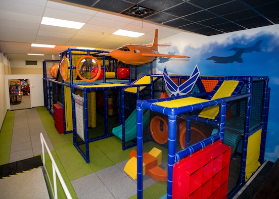 The indoor playground at the High Desert Lanes bowling center on Edwards Air Force Base, California, nears completion following extended planning and construction. (Air Force photo by Giancarlo Casem)