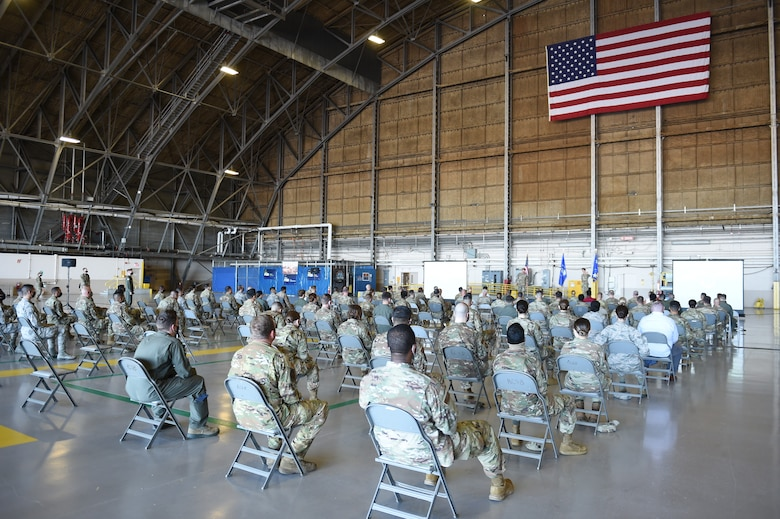 Gen. Jacqueline Van Ovost, Air Mobility Command commander, and Chief Master Sgt. Brian Kru-zelnick, AMC command chief, hold a socially-distanced all call for members of Team McChord on Joint Base Lewis-McChord, Wash., Sept. 3, 2020. AMC leadership is currently touring bases as part of their listening tour to learn from AMC Airmen. (U.S. Air Force photo by Airman 1st Class Mikayla Heineck)