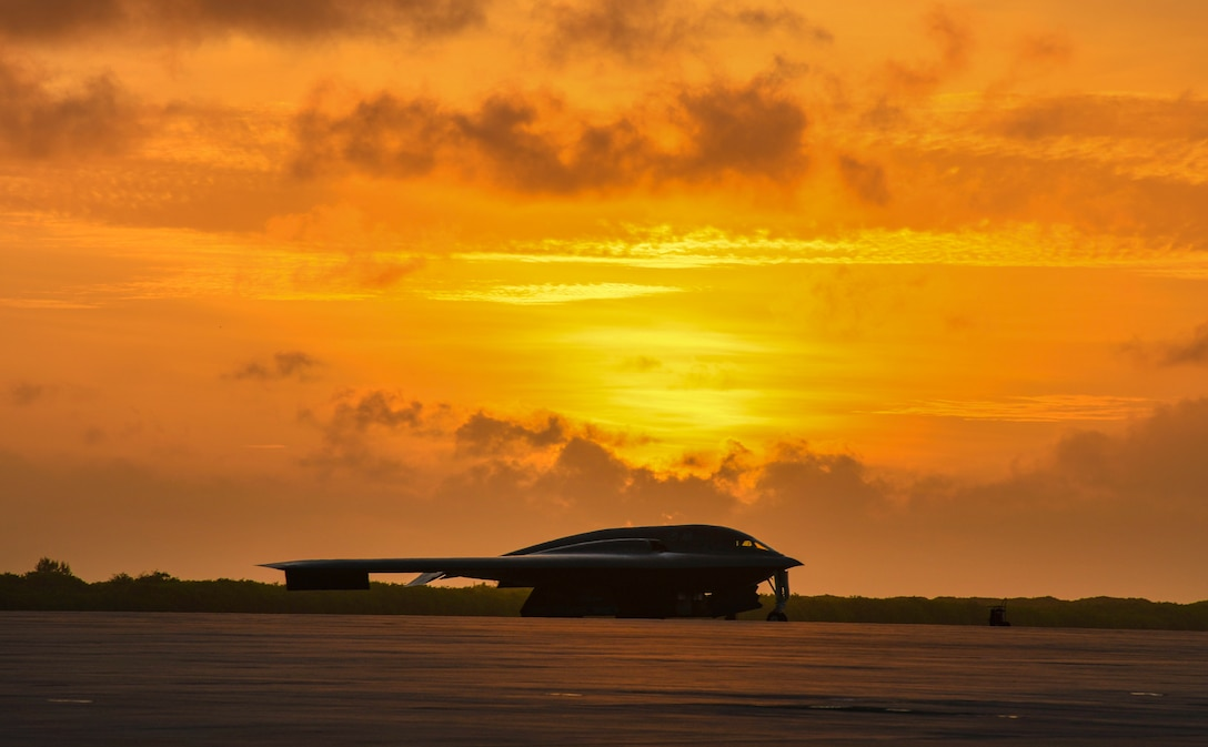 A B-2 Spirit Stealth Bomber, from Whiteman Air Force Base, Missouri, sits on the flight line of Naval Support Facility Diego Garcia, in support a Bomber Task Force deployment, Aug. 24, 2020. As part of their BTF deployment, the B-2s participated in a combined United States-Australia exercise with Marine Rotational Force – Darwin and Australian Defence Forces. (U.S. Air Force photo by Tech. Sgt. Heather Salazar)
