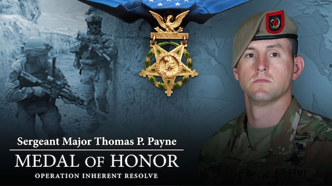 Graphic showing the medal of honor and a soldier wearing a tan beret.