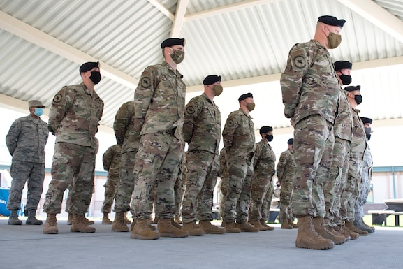 102 IW Airmen stand in formation at Otis Air National Guard Base, Mass.