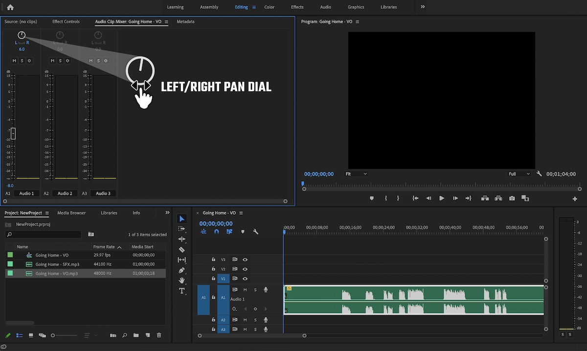 Screenshot of Adobe Premiere Pro with audio clip mixer panel open and audio pan dial featured.