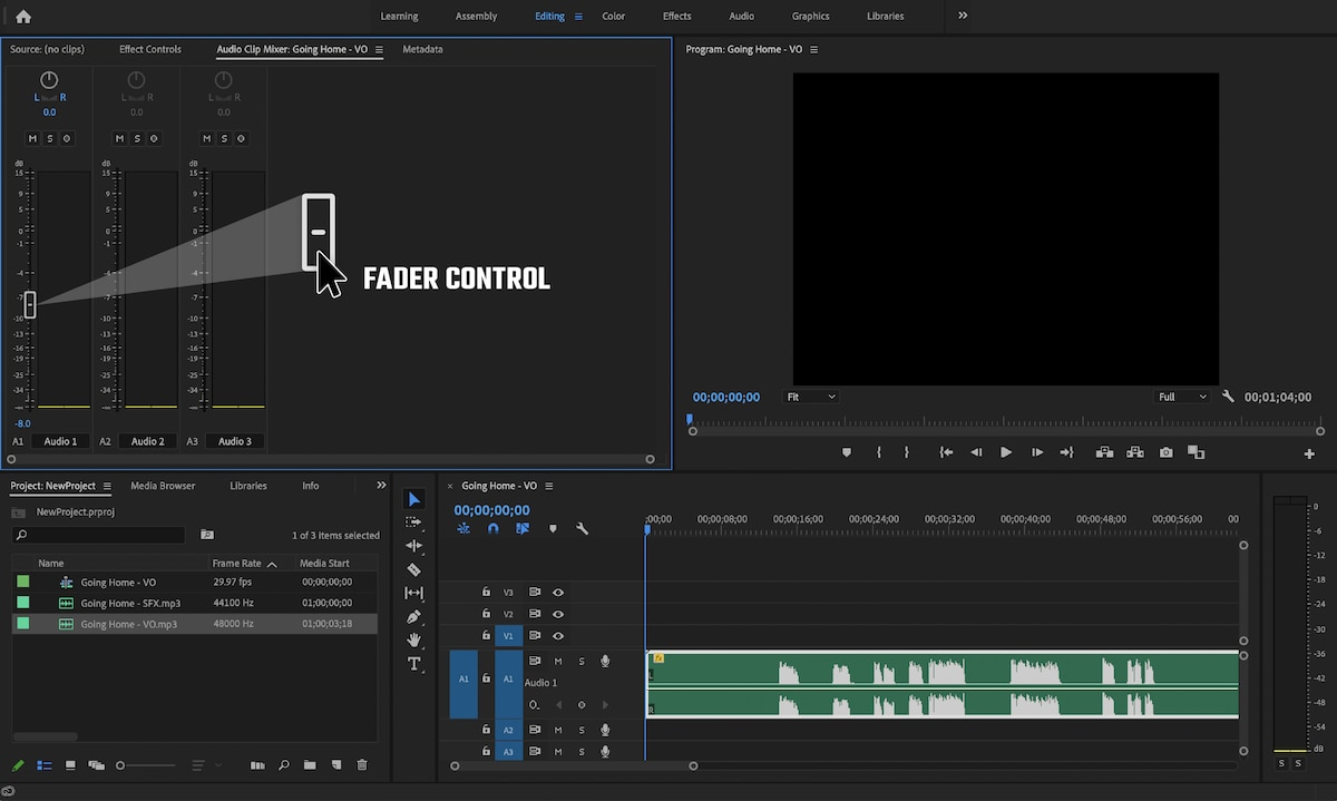 Screenshot of Adobe Premiere Pro with audio mix dialogue box open, fader control featured.