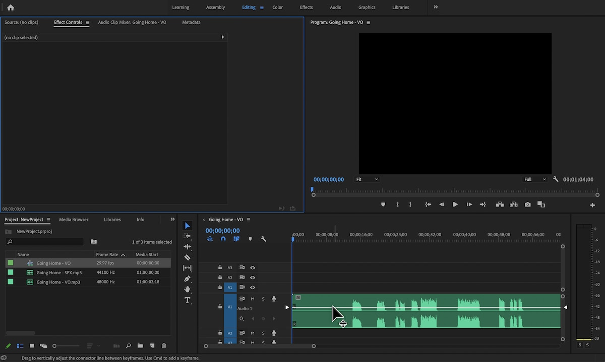 Adobe Premiere Pro with Timeline panel open