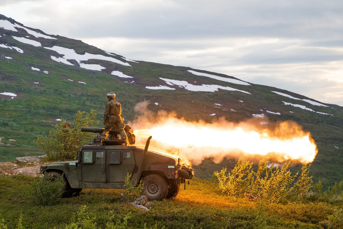 U.S. Marines with Marine Rotational Force-Europe 20.2, Marine Forces Europe and Africa, fire a TOW anti-tank missile downrange in Setermoen, Norway, July 29, 2020. MRF-E conducts various exercises, including arctic cold-weather and mountain-warfare training, as well as military-to-military engagements throughout Europe that enhance cooperation among partners and allies. (U.S. Marine Corps photo by Lance Cpl. Chase W. Drayer)