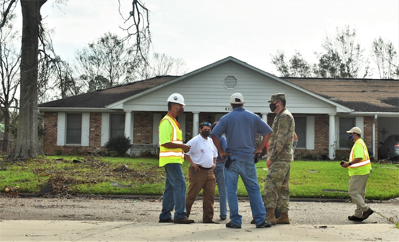 U.S. Army Corps of Engineers contractors in Lake Charles, Louisiana, installed reinforced plastic sheeting today, Sept. 5,  for the first home to benefit from Operation Blue Roof since Hurricane Laura. The program, managed by the U.S. Army Corps of Engineers for the FEMA Federal Emergency Management Agency, reduces further damage to property until permanent repairs can be made. This is a free service to homeowners. Parties affected by Hurricane Laura are encouraged to submit a Right-of-Entry application. To learn more about Operation Blue Roof and to apply, visit: https://www.usace.army.mil/BlueRoof/  (USACE Photos by Jessica Haas)