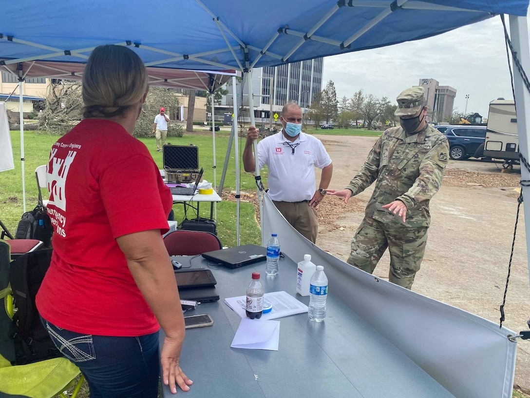 (IN THE PHOTO) The U.S. Army Corps of Engineers (USACE), Mississippi Valley Division (MVD) plays a key role in the response and recovery efforts to communities affected by Hurricanes. Part of that assistance includes providing temporary roofing. Pictured here is the Operation Blue Roof in-person Right-of-Entry sign-up station at the Lake Charles Civic Center. It is located alongside Veterans Memorial Blvd/N. Lakeshore Dr. (USACE photo by Jessica Haas)