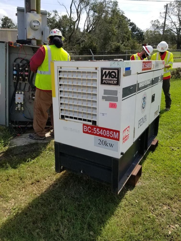 (IN THE PHOTO) U.S. Army Corps of Engineers Contractors install temporary generators at one of the sites requested by the state of Louisiana. Emergency power installation is one of the Corps' primary missions during emergency recovery operations, in addition to supporting the temporary housing mission, providing temporary roofing and conducting infrastructure assessments. (USACE photos by Royalle Woods)