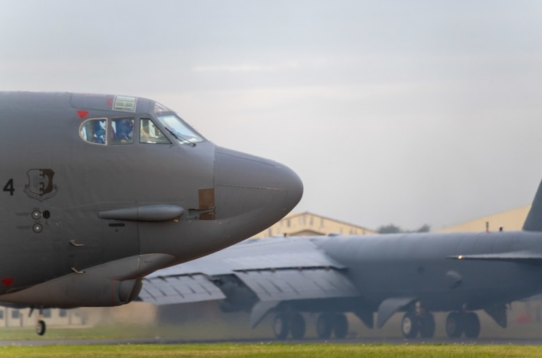 A b-52 taxis for take off