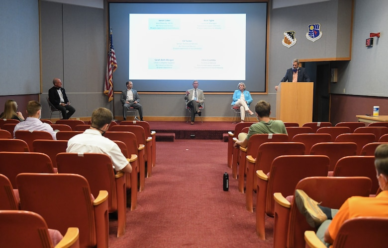 Senior leadership from the Arnold Engineering Development Complex (AEDC) and National Aerospace Solutions, LLC (NAS), the Test Operations and Sustainment Contractor for AEDC, answer questions from Air Force and NAS interns about career development July 15, 2020, during a presentation in the Main Auditorium at Arnold Air Force Base, Tenn. Pictured from left are Dr. Rich Tighe, NAS General Manager; Ed Tucker, AEDC Senior Technical Advisor; Jason Coker, AEDC Vice Director; Sarah Beth Morgan, Chief of Complex Support for AEDC; and Chris Crumbly, Technical Director for NAS. (U.S. Air Force photo by Jill Pickett)