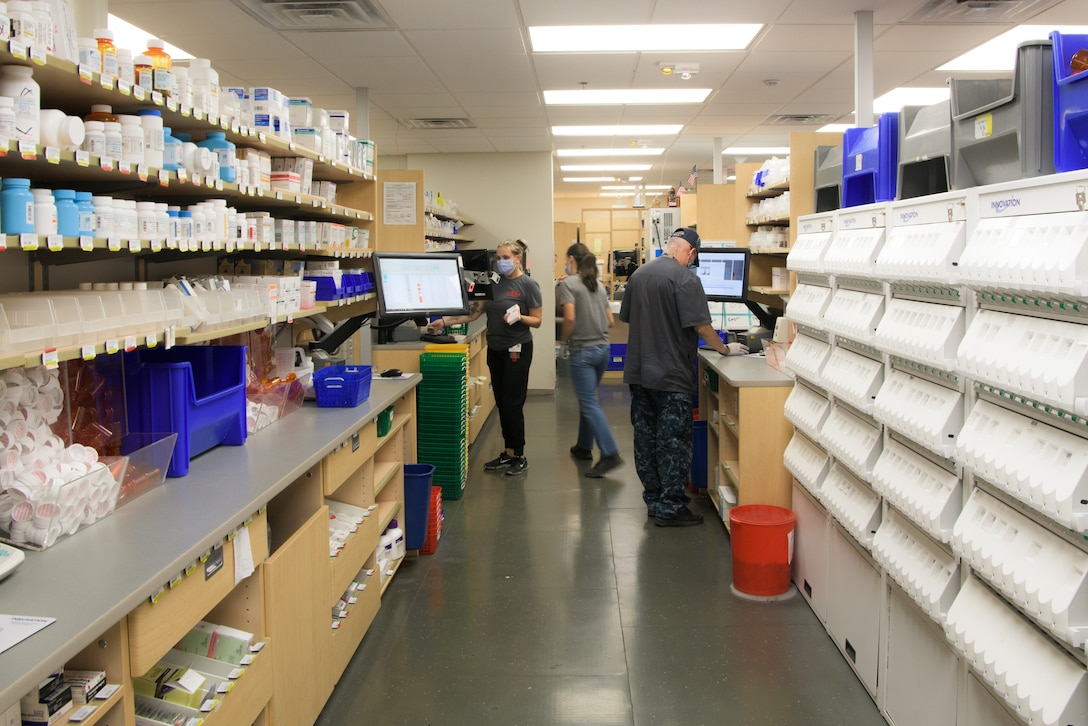 Technicians from the 56th Medical Group Pharmacy fill prescriptions Aug. 24, 2020, at Luke Air Force Base, Ariz.