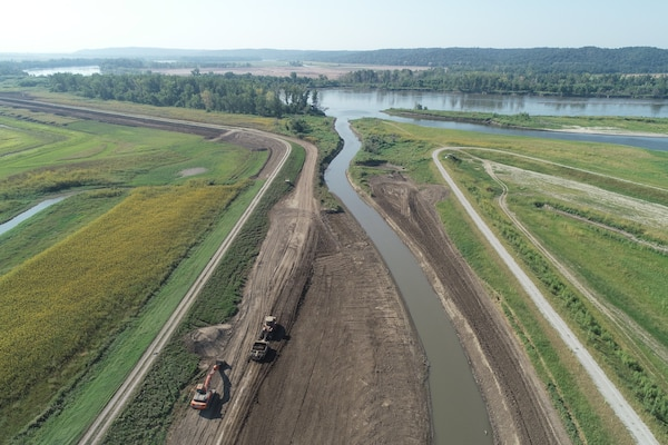 Aerial view of levee setback construction progress along L-536.