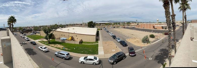 Patients wait in the 56th Medical Group Pharmacy drive-thru Aug. 24, 2020, at Luke Air Force Base, Ariz.