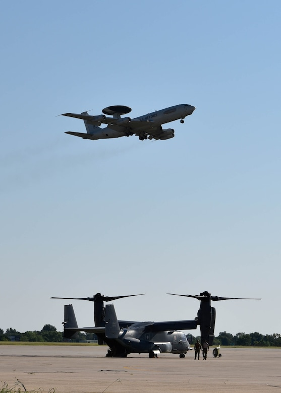 An E-3 Sentry Airborne Warning and Control System aircraft from Tinker Air Force Base, Joint Surveillance and Target Attack Radar System aircraft from Robins AFB, MQ-9 Reapers operated from Ellington Field Joint Reserve Base, MC-12s from the 137th Special Operations Wing, CV-22 Osprey and AC-130 Gunships from Cannon AFB, an MC-130H Combat Talon IIs from Hurlburt AFB and KC-135R Stratotankers from the 314th Air Refueling Squadron at Beale AFB participated in SENTRY REX 20-03. Sentry Rex is a joint-exercise hosted by the 552nd Air Control Wing, specializing in Combat Search and Rescue mission integration.