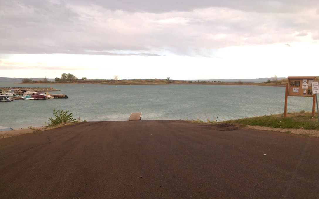 Fort Peck Marina boat ramp in Fort Peck, Montana Sept. 2, 2020, just prior to scheduled upgrades planned for early September 2020. (Photo by Susan Dalby).