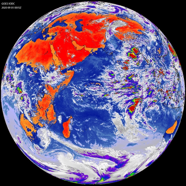 A view of the Earth from the EWS-G1 satellite taken on September 1, 2020. Originally launched in 2006 as GOES-13, the satellite provided operational weather coverage over the United States' East Coast for 10 years before being replaced in the GOES-East position by GOES-16. The transfer to the Department of Defense and relocation of EWS-G1 is the culmination of joint efforts between SMC, NOAA and NASA. (Photo courtesy of U.S. Space Force's MARK IV-B Program Office)