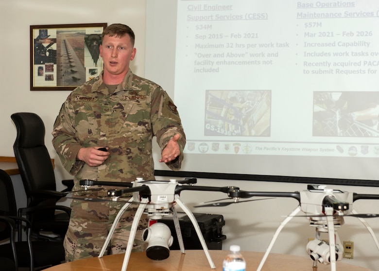 U.S. Air Force Staff Sgt. Joseph Kohnke, 773d Civil Engineer Squadron noncommissioned officer in charge of engineering, talks about the Small Unmanned Aircraft System and its impact during a 773d CES immersion tour at JBER, Alaska, Sept. 1, 2020. Aguilar familiarized herself with the 773d CES and its role in supporting installation readiness after taking command of the installation on July 14, 2020. The 773d CES maintains structures throughout the base as well as runs the installation's emergency management program.
