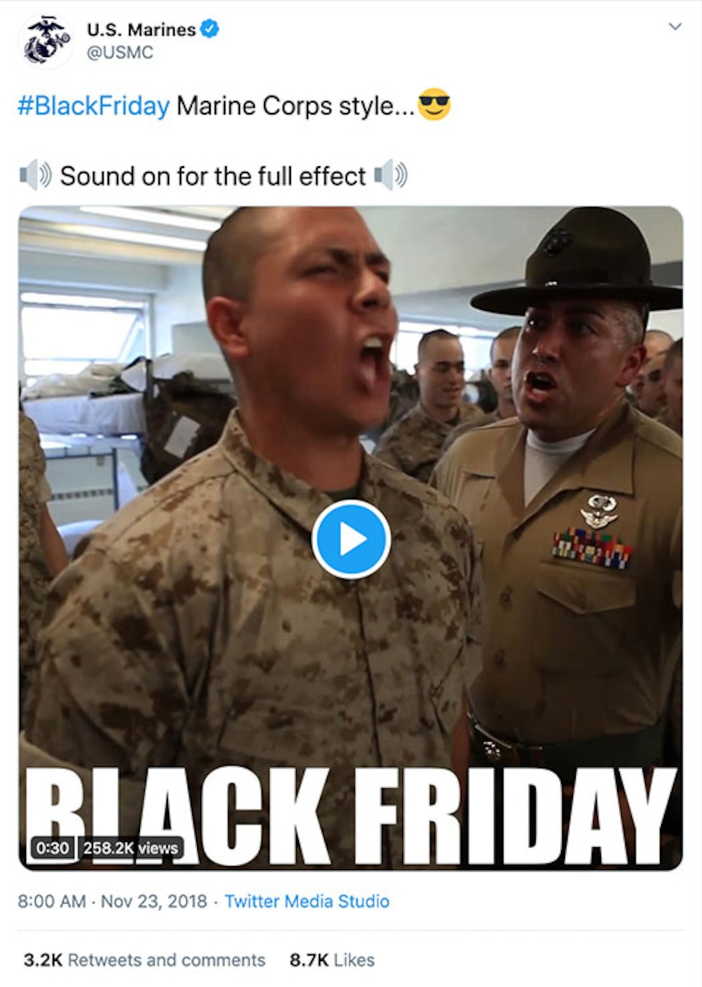 Twitter post from USMC, Nov 23, 2018, promoting a video of Marine Black Friday #blackfriday Marine Corps style, Sound on for full effect