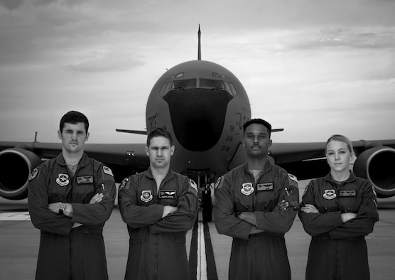 Pictured, from left, Capt. David Degroat, 350th Air Refueling Squadron deputy readiness chief, Capt. Austin Gainor, 350th ARS navigator, 1st Lt. Rico Hilliard, 350th ARS KC-135 pilot, and Senior Airman Kelsey Tillotson, 350th ARS in-flight refueling specialist, recently completed a multilateral exercise Sept. 2, 2020, at McConnell Air Force Base, Kansas. McConnell provides critical Special Operations Air Refueling capabilities for MLATs, which are training missions that include multiple branches of the military. (U.S. Air Force photo by Senior Airman Michaela R. Slanchik)