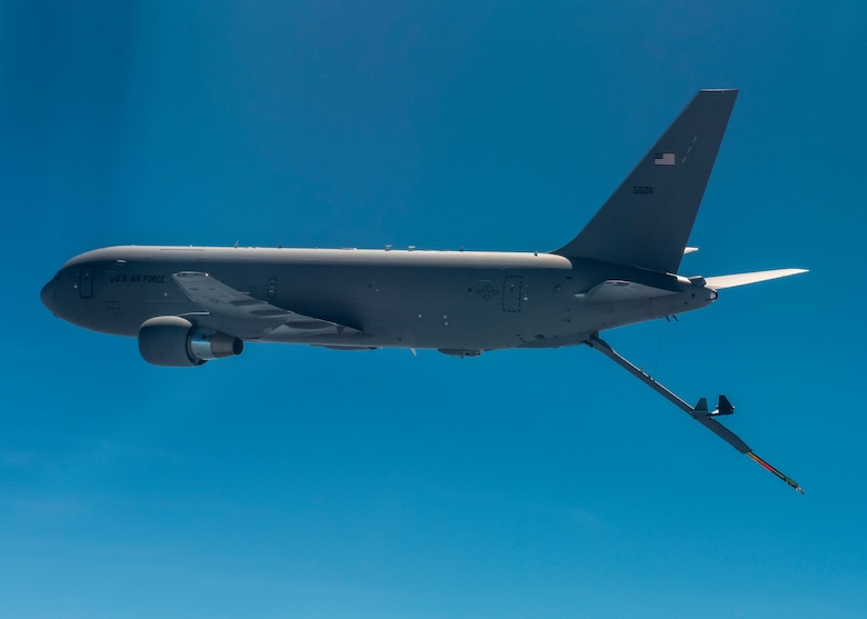 A KC-46 Pegasus from the 916th Air Refueling Wing at Seymour Johnson Air Force Base flies in the sky over North Carolina.