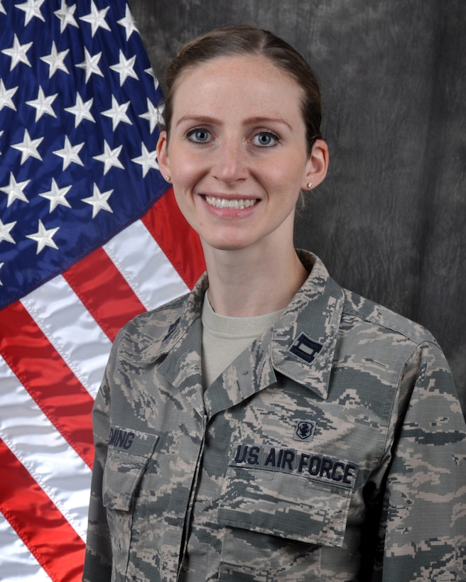 Capt. Kristina M. Fleming, clinical nurse, 445th Aeromedical Staging Squadron, is the 445th Airlift Wing Company Grade Officer of the Quarter, second quarter CY 2020.