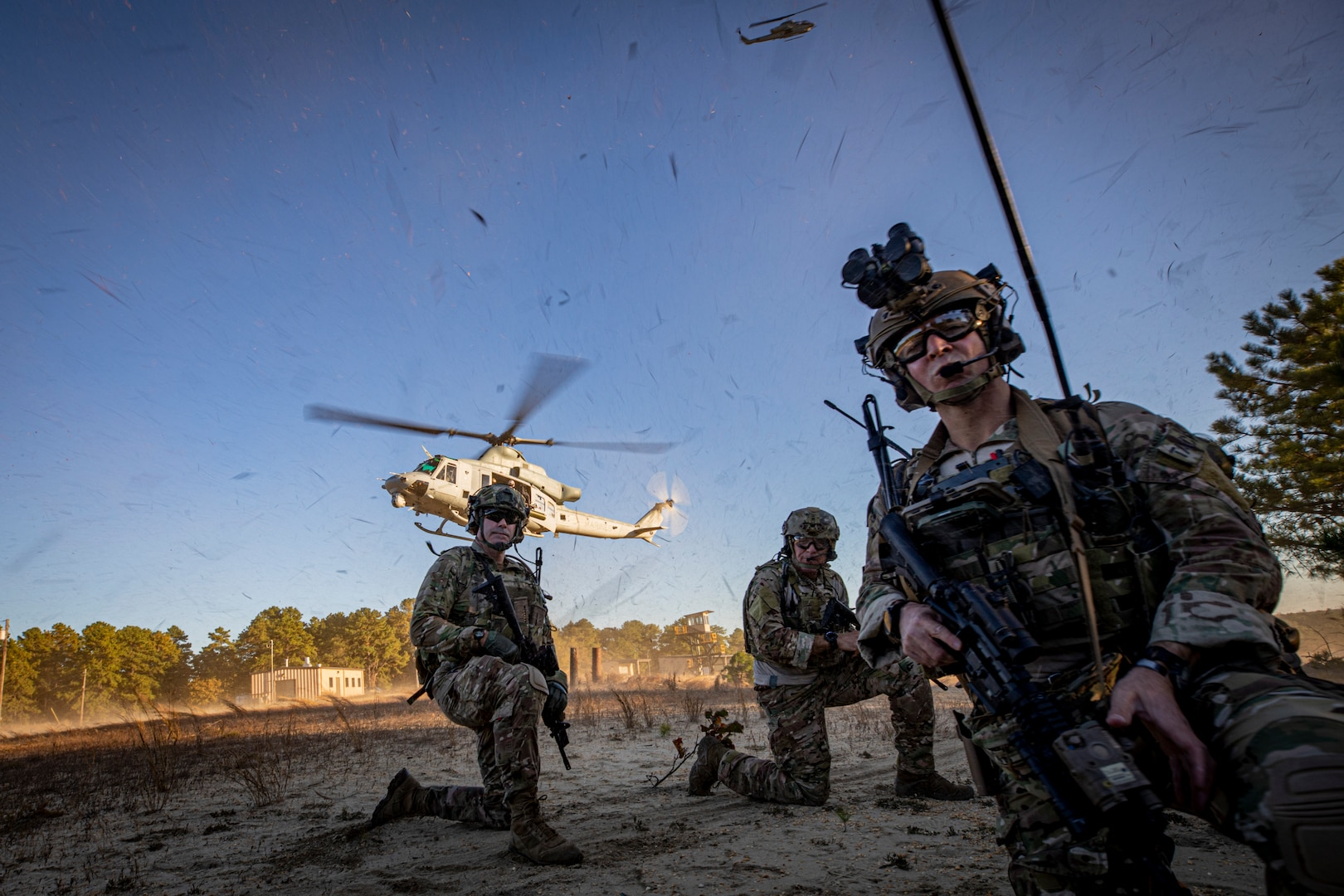 Marine Corps UH-1Y Venom with Marine Light Attack Helicopter Squadron 773 lands to pick up simulated casualty during live-fire exercise with Special Warfare Airmen from 227th Air Support Operations Squadron on Joint Base McGuire-Dix-Lakehurst, New Jersey, October 24, 2019 (U.S. Air National Guard/Matt Hecht)