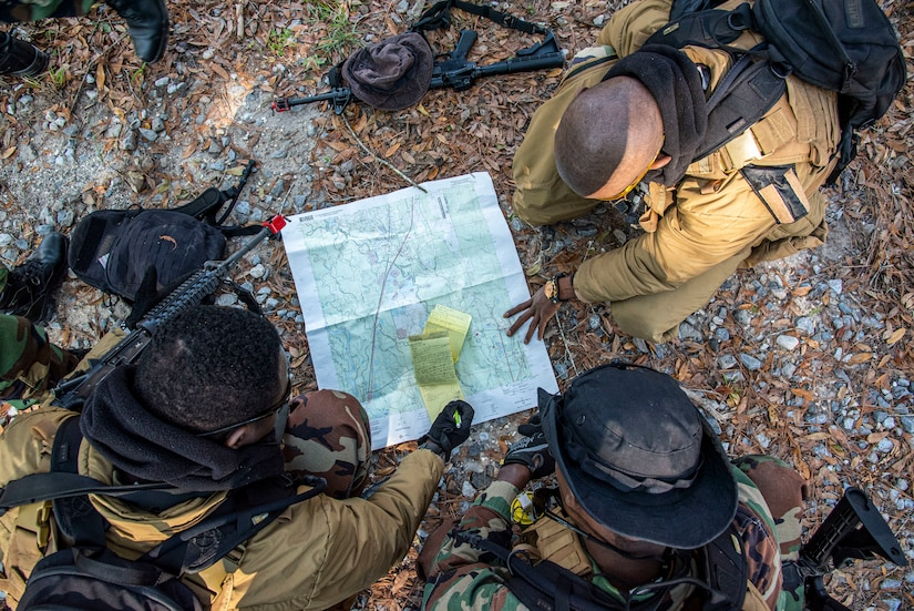 Partner-nation students from Nigeria and Sierra Leone conduct land navigation and reconnaissance tactics at John C. Stennis Space Center, November 20, 2019 (U.S. Navy/Michael Williams)
