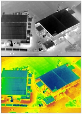 Thermal imagery supporting roofing system assessments at Wright-Patterson Air Force Base, Ohio, in 2017.