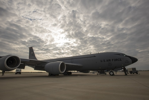 A KC-135 Stratotanker from the 121st Air Refueling Wing sits on the flightline at Rickenbacker Air National Guard Base, Ohio. (U.S. Air National Guard photo by Tiffany A Emery)