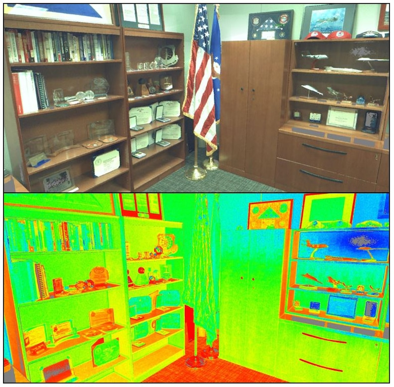 Photo and LiDAR scan of a leader's office in the Air Force Civil Engineer Center taken during a 2015 geospatial proof of concept.