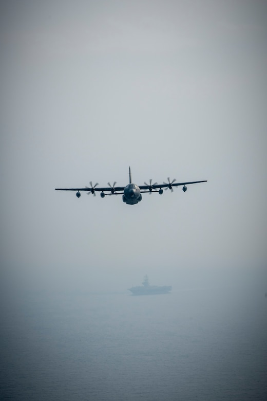A U.S. Air Force MC-130J soars off the Northern Coast of Japan, Aug. 5, 2020, during Exercise Gryphon Jet 10. Gryphon Jet is an integrated training exercise focused on improving interoperability throughout the special operations community. During this exercise formation departure, ship based air traffic control procedures, night vision goggle mountain low level, air intercepts with F/A-18s and tilt-rotor air-to-air refueling with the CV-22 were simulated. (U.S. Air Force photo by Airman 1st Class China M. Shock)