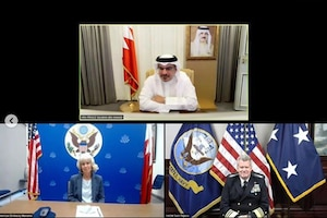 U.S. Naval Forces Central Command/5th Fleet/Combined Maritime Forces Commander Vice Adm. Samuel Paparo met via video conference with His Royal Highness Crown Prince, Deputy Supreme Commander, First Deputy Prime Minister Salman bin Hamad Al-Khalifa Sept. 8 to reaffirm the enduring defense relationship between the United States and Bahrain.